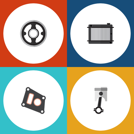 conrod: Flat Parts Set Of Gasket, Conrod, Belt And Other Vector Objects. Also Includes Radiator, Pulley, Heater Elements. Illustration