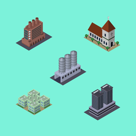 Isometric Construction Set Of Clinic, Industry, Water Storage And Other Vector Objects. Also Includes Industry, Firm, Church Elements. Illustration