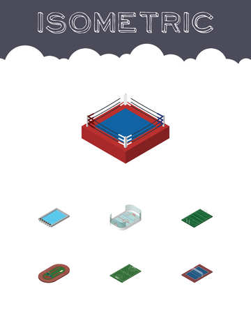 Isometric Lifestyle Set Of Basin, Tennis, Run Stadium And Other Vector Objects. Also Includes Playground, Fighting, Rugby Elements.