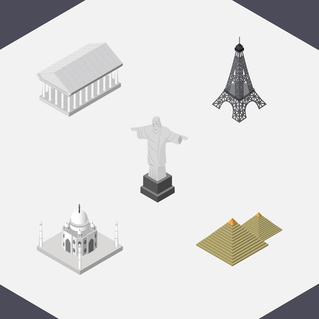 Isometric Cities Set Of Athens, India Mosque, Egypt And Other Vector Objects. Also Includes Paris, Acropolis, Mosque Elements.