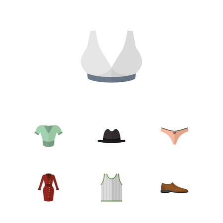 Flat Dress Set Of Casual, Lingerie, Singlet And Other Vector Objects. Also Includes Footware, Bra, Blouse Elements. Illustration