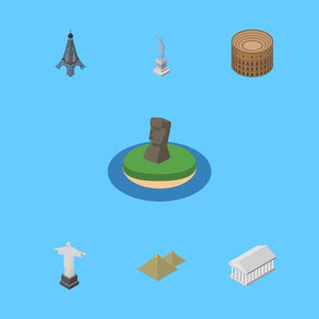 Isometric Cities Set Of Rio, Egypt, Chile And Other Vector Objects. Also Includes Christ, Redeemer, Athens Elements.