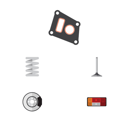 tread: Flat Parts Set Of Crankshaft, Metal, Headlight And Other Vector Objects. Also Includes Car, Taillight, Valve Elements.