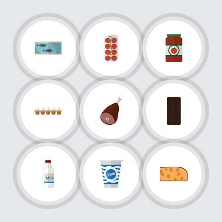 hermetic: Flat Food Set Of Tomato, Yogurt, Bottle And Other Vector Objects. Also Includes Fish, Apple, Yogurt Elements.