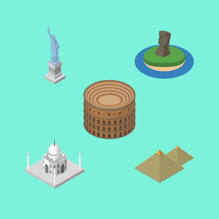sight: Isometric Architecture Set Of Egypt, India Mosque, Coliseum And Other Vector Objects. Also Includes Mosque, Coliseum, Liberty Elements.