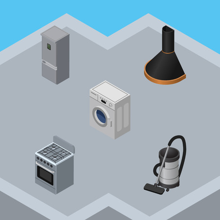 vac: Isometric Appliance Set Of Kitchen Fridge, Laundry, Vac And Other Vector Objects. Also Includes Machine, Refrigerator, Cleaner Elements.