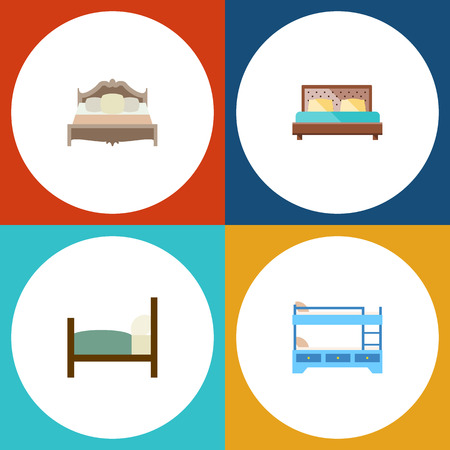 bunk bed: Flat Bed Set Of Bunk Bed, Bed, Bedroom And Other Vector Objects. Also Includes Hostel, Bedroom, Bunk Elements. Illustration