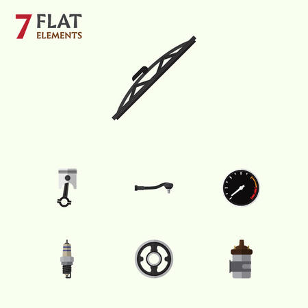 pulley: Flat Auto Set Of Belt, Absorber, Tachometr And Other Vector Objects. Also Includes Engine, Conrod, Pulley Elements.