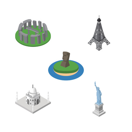 Isometric Architecture Set Of Chile, India Mosque, Paris And Other Vector Objects. Also Includes Statue, MoAI, America Elements.