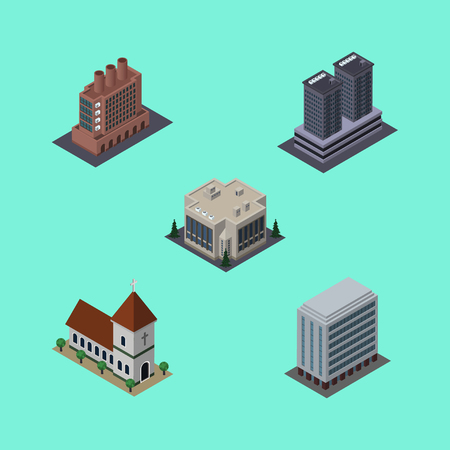 depot: Isometric Urban Set Of Tower, Chapel, Office And Other Vector Objects. Also Includes House, Catholic, Building Elements.