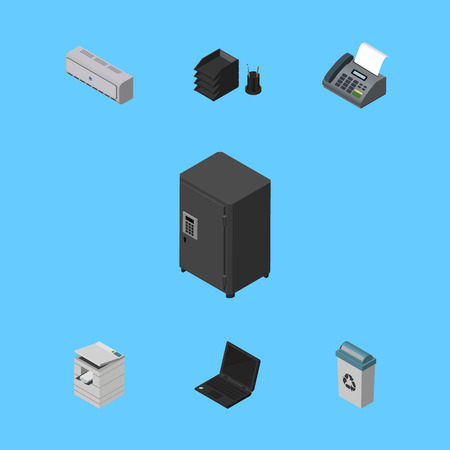 facsimile: Isometric Cabinet Set Of Scanner, Desk File Rack, Garbage Container And Other Vector Objects. Also Includes Notebook, Bin, Laptop Elements.