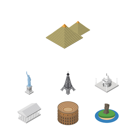 Isometric Attraction Set Of Athens, New York, Coliseum And Other Vector Objects. Also Includes Statue, Attraction, Athens Elements. Illustration