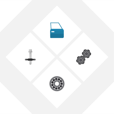 not open: Flat Workshop Set Of Automobile Part, Brake Disk, Muffler And Other Vector Objects. Also Includes Pulley, Ball, Disk Elements.