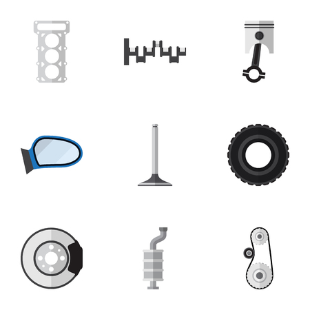 gasket: Flat Component Set Of Packing, Steels Shafts, Metal And Other Vector Objects. Also Includes Car, Gasket, Metal Elements.