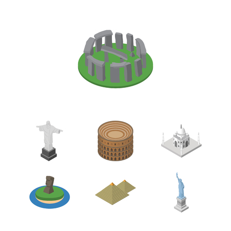 Isometric Travel Set Of New York, Egypt, Chile And Other Objects. Illustration