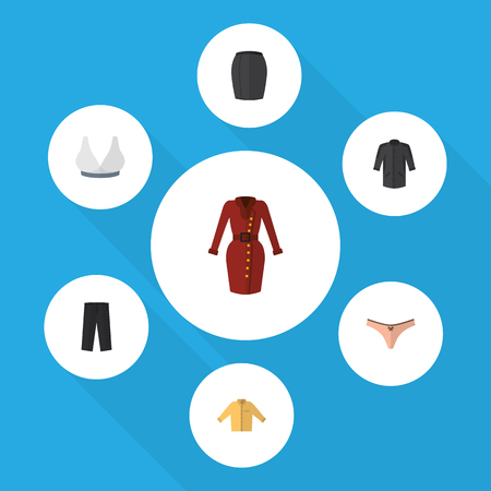 Flat Dress Set Of Stylish Apparel, Pants, Clothes And Other Vector Objects. Also Includes Sport, Apparel, Leggings Elements.