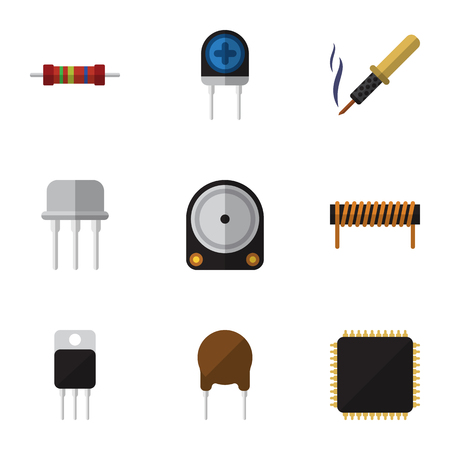 Flat Electronics Set Of Hdd, Receiver, Bobbin And Other Vector Objects. Illustration