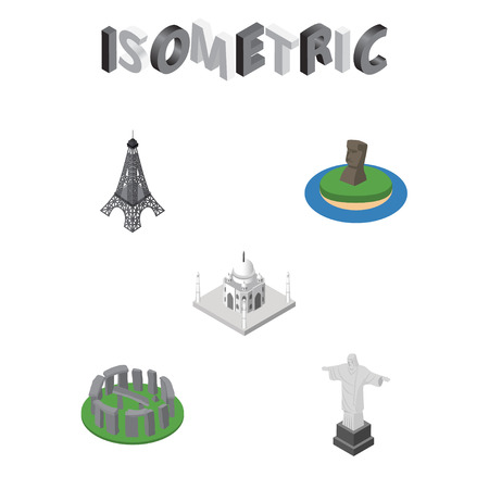 Isometric Travel Set Of Chile, Rio, Paris And Other Vector Objects.