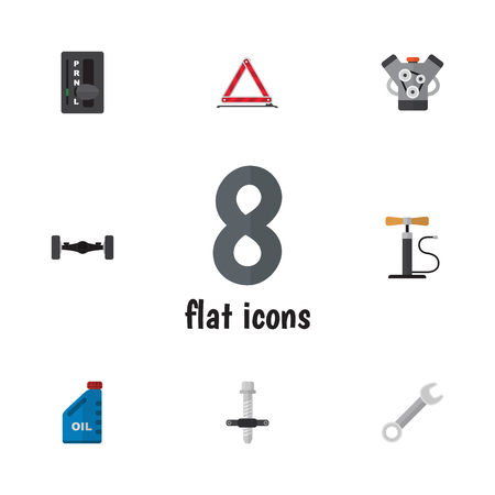 Flat Auto Set Of Spanner, Wheel Pump, Warning And Other Vector Objects.