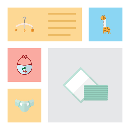 incontinence: Flat Baby Set Of Toy, Napkin, Mobile And Other Vector Objects.