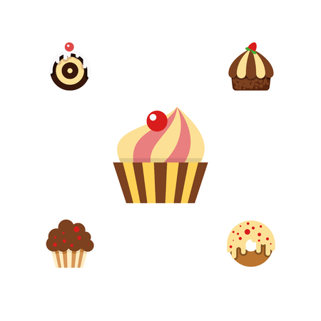 Flat Cake Set Of Muffin, Donut, Cupcake And Other Vector Objects.
