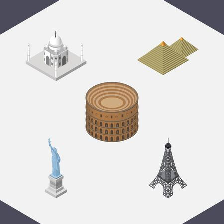 esfinge: Isometric Attraction Set Of Paris, India Mosque, New York And Other Vector Objects.