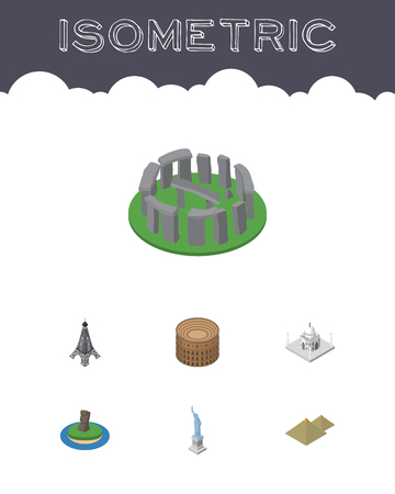 Isometric Set Of Coliseum, England, India Mosque Vector Objects.