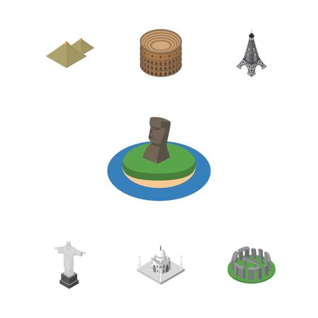 mausoleum: Isometric Set Of Chile, Egypt, Coliseum And Other Vector Objects.
