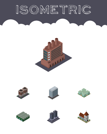 steeple: Isometric Urban Set Of House, Warehouse, Office And Other Vector Objects. Illustration