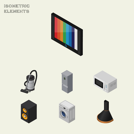 household goods: Isometric Appliance Set Of Air Extractor, Kitchen Fridge, Vac And Other Vector Objects. Also Includes Television, Loudspeaker, Box Elements. Illustration
