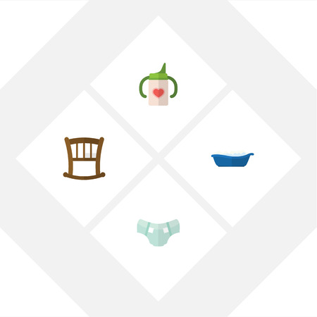 incontinence: Flat Child Set Of Nursing Bottle, Infant Cot, Nappy And Other Vector Objects. Illustration