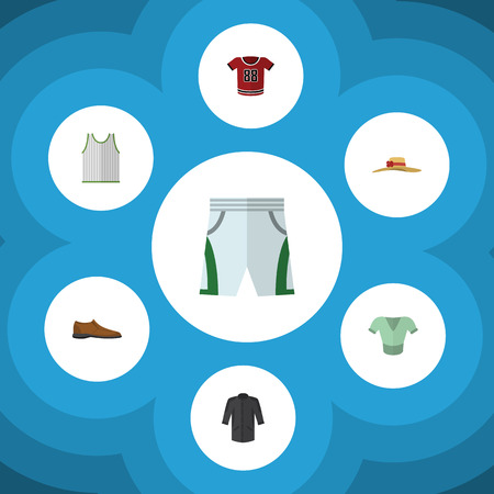Flat Clothes Set Of T-Shirt, Uniform, Casual And Other Vector Objects. Illustration