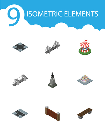 Isometric Urban Set Of Bench, Barrier, Sculpture And Other Vector Objects. Ilustrace