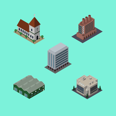 depot: Isometric Architecture Set Of Office, Company, Chapel And Other Vector Objects. Illustration