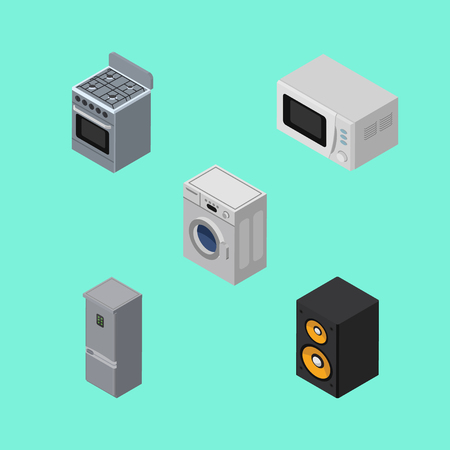 household goods: Isometric Device Set Of Stove, Kitchen Fridge, Laundry And Other Vector Objects.