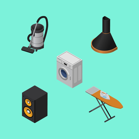 Isometric Technology Set Of Vac, Cloth Iron, Music Box And Other Vector Objects.