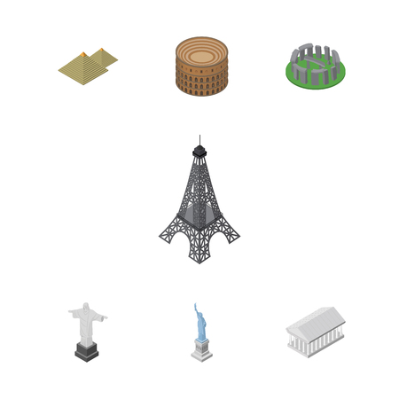 Isometric Attraction Set Of New York, Rio, Athens And Other Vector Objects.