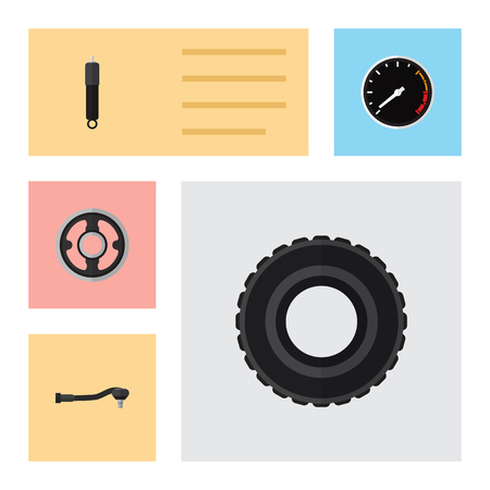 axles: Flat Component Set Of Belt, Tachometr, Combustion And Other Vector Objects. Also Includes Car, Engine, Spherical Elements.