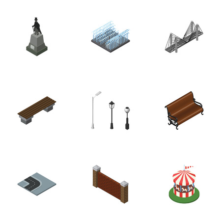 Isometric City Set Of Carousel, Fountain, Bridge And Other Vector Objects. Also Includes City, Lanterns, Attraction Elements.
