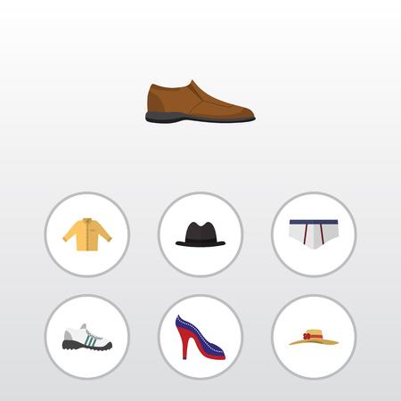 Ensemble de vêtements plats de chaussures à talons, espadrilles, chaussures mâles et autres objets vectoriels. Inclut également la chemise, le banian, les éléments de mémoires. Banque d'images - 76993954