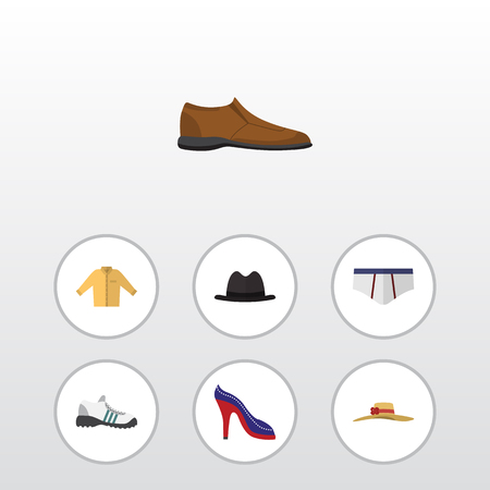 Flat Clothes Set Of Heeled Shoe, Sneakers, Male Footware And Other Vector Objects. Also Includes Shirt, Banyan, Briefs Elements.