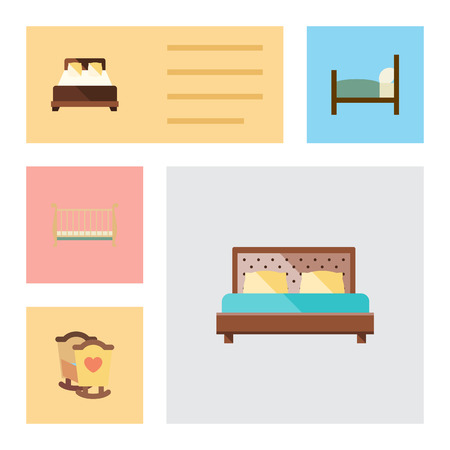 Flat Bed Set Of Bed, Mattress, Crib And Other Vector Objects. Also Includes Crib, Mattress, Bed Elements.