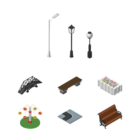 Isometric Architecture Set Of Expressway, Street Lanterns, Flower Decoration And Other Vector Objects. Also Includes Park, Path, Turn Elements. Ilustrace