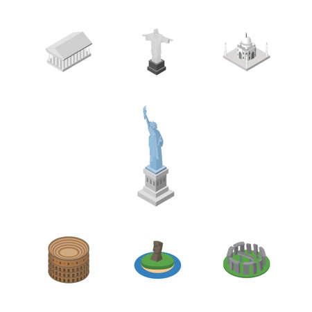 Isometric Travel Set Of Rio, Chile, Coliseum And Other Vector Objects. Also Includes Mosque, America, MoAI Elements.