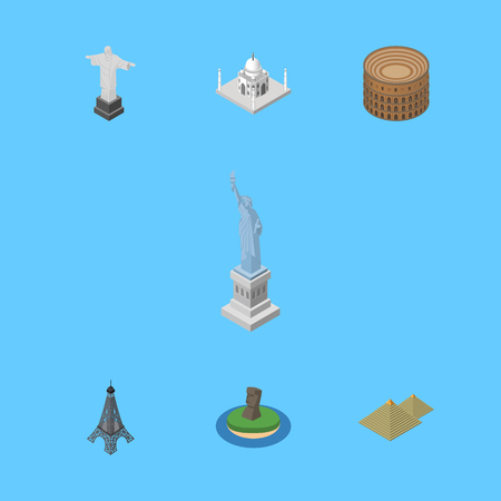 Isometric Architecture Set Of Egypt, India Mosque, New York And Other Vector Objects. Also Includes Colosseum, Christ, Monument Elements. Illustration