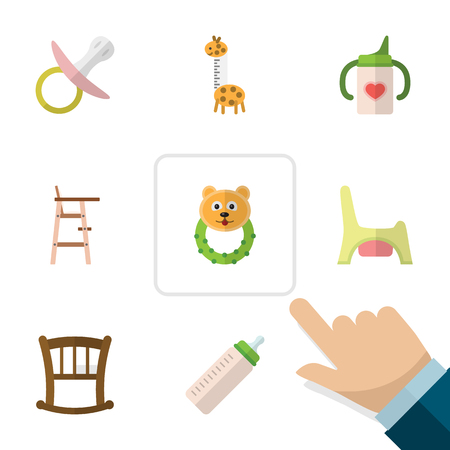 Flat Child Set Of Toy, Rattle, Toilet And Other Vector Objects. Also Includes Rattle, Baby, Feeder Elements. Çizim
