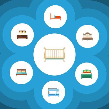 ベアリング、マットレス、二段ベッド、その他のベクトルオブジェクトのフラットベッドルームセット。ベッド、マットレス、コットエレメントも  イラスト・ベクター素材