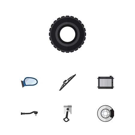 conrod: Flat Auto Set Of Wheel, Auto Component, Conrod And Other Vector Objects. Also Includes Wheel, Spherical, Conrod Elements.
