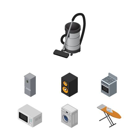 vac: Isometric Technology Set Of Stove, Microwave, Music Box And Other Vector Objects. Also Includes Ironing, Machine, Vac Elements.