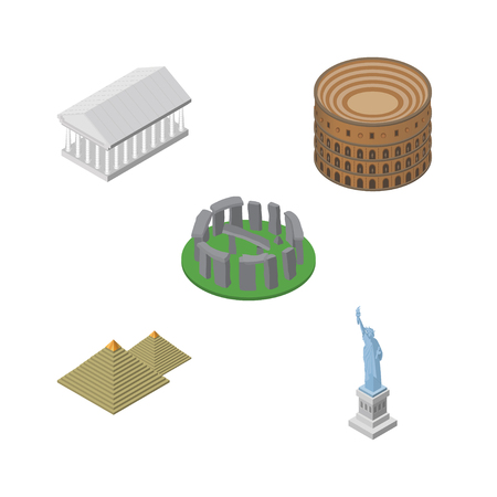 Isometric Attraction Set Of Coliseum, England, New York Vector Objects. Also Includes Athens, America, Colosseum Elements.